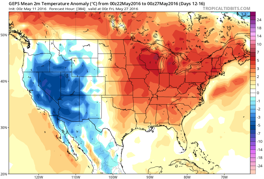 00Z Canadian ensemble forecast map of 5-day average temperature anomalies (May 22-May 27); map courtesy tropicaltidbits.com, NOAA
