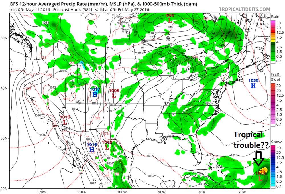 Long-range forecast map by the 00Z GFS for Friday, May 27th which suggests there could be tropical troubles for the first time this season; map courtesy tropicaltidbits.com, NOAA