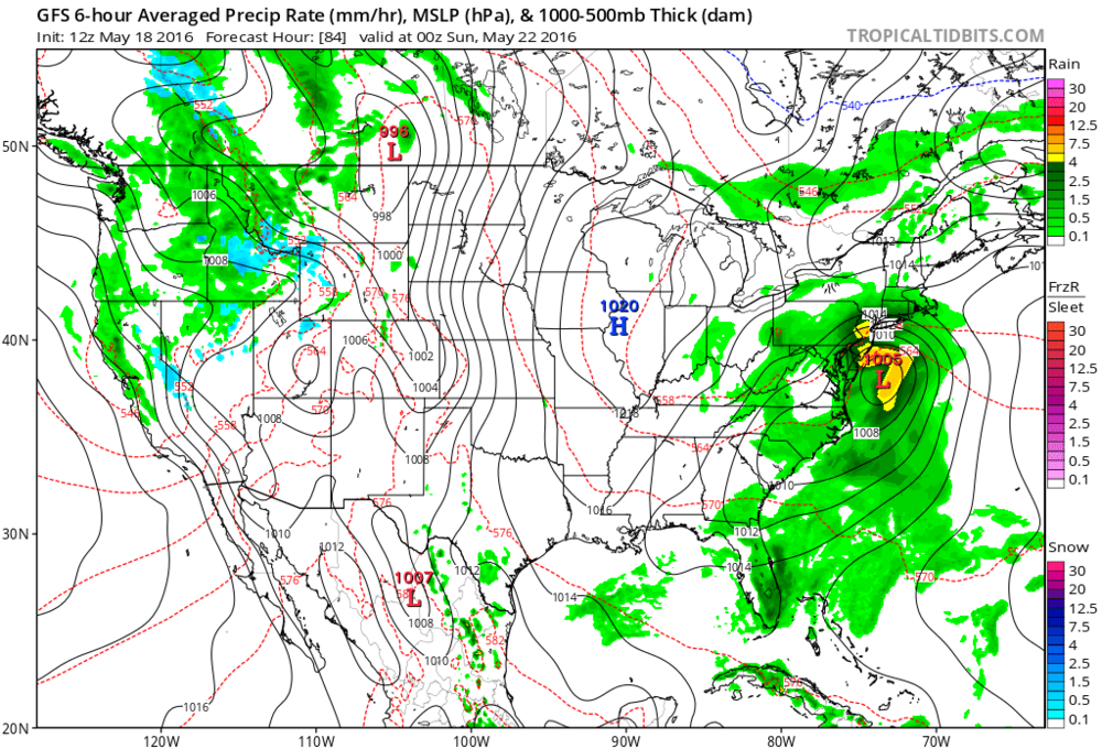 12Z GFS forecast map for Saturday evening with low pressure off the Mid-Atlantic coastline; map courtesy tropicaltidbits.com, NOAA