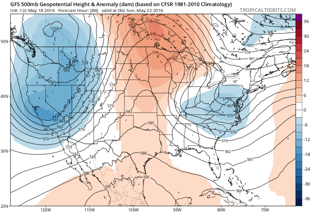 12Z GFS forecast map of 500 mb height anomalies for Saturday evening indicating upper-level troughs of low pressure over both coasts (blue regions) and high pressure ridging in the middle of the US (orange region); map courtesy tropicaltidbits.com, NOAA