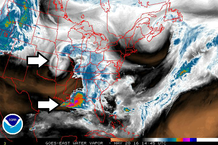 GOES-East water vapor image shows the location of an important upper-level short wave of energy (top arrow) and deep moisture associated with thunderstorms (bottom arrow); courtesy NOAA