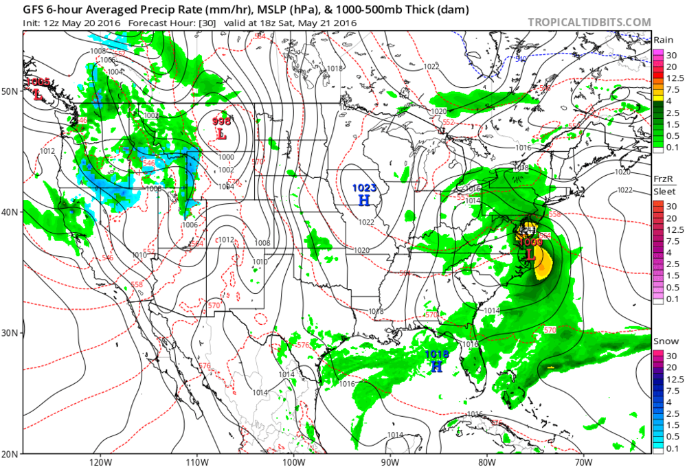 12Z GFS forecast map at surface-level for early Saturday afternoon showing coastal low pressure; map courtesy tropicaltidbits.com, NOAA