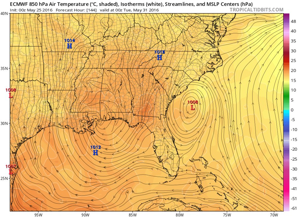 00Z Euro model forecast for Monday night with low pressure just off the Southeast US coastline; map courtesy tropicaltidbits.com