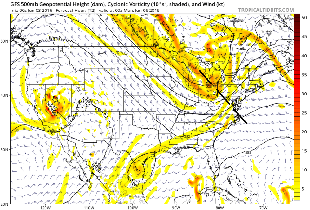 "00Z GFS forecast map for early Sunday evening with 500 mb ""negatively"" tilted upper-level short wave; map courtesy NOAA, tropicaltidbits.com"