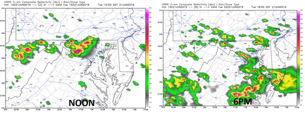 High-resolution (HRRR) computer forecast model simulated radar maps for early this afternoon (left) and late this afternoon (right); maps courtesy Weather Bell Analytics, NOAA