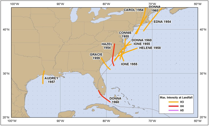 """Major"" hurricane tracks of the 1950's; map courtesy Joe Bastardi, Weather Bell Analytics"