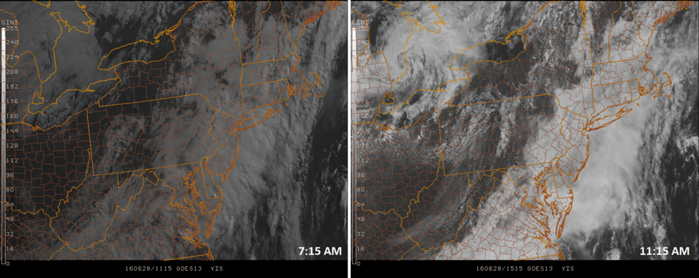 Early morning GOES satellite image (left) and late morning image (right) shows some eastward advancement of clearing skies towards the I-95 corridor; images courtesy Penn State eWall, NOAA