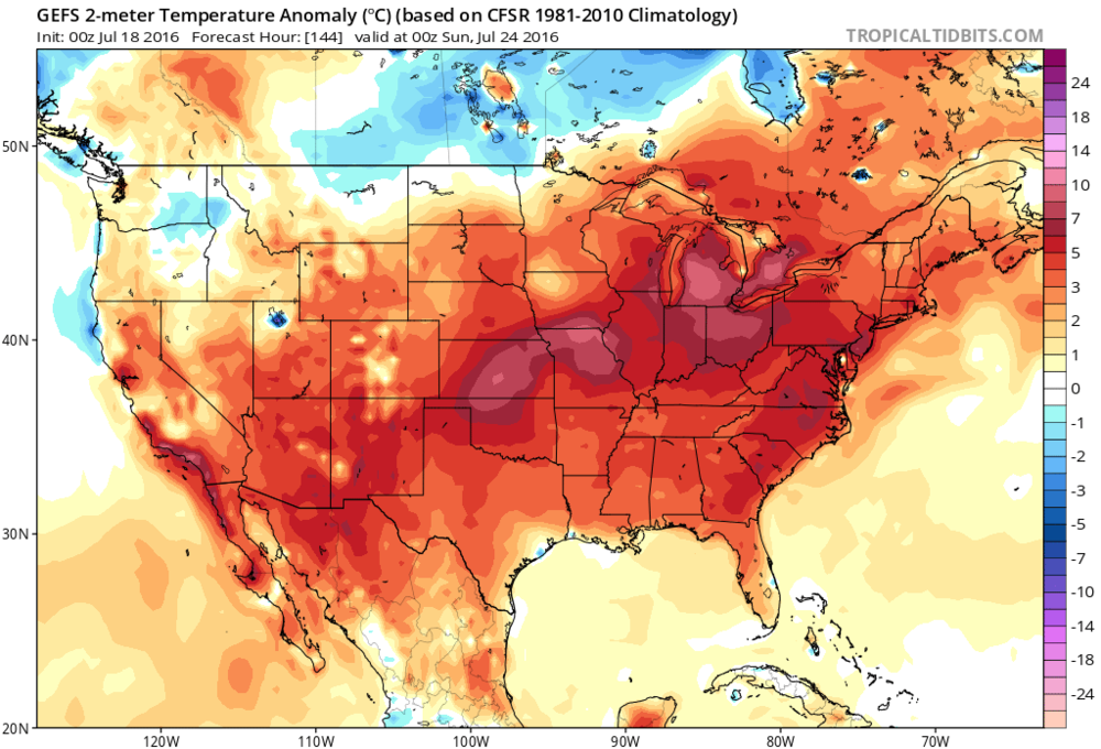 00Z GFS Ensemble forecast map of temperature anomalies for late Saturday with coast-to-coast heat; map courtesy tropicaltidbits.com, NOAA