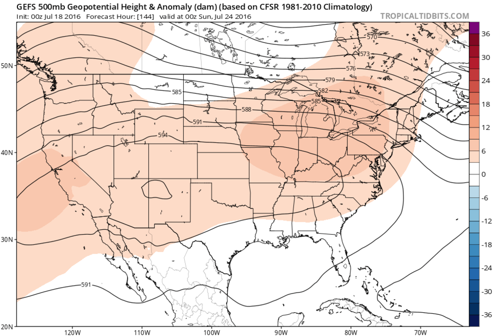 00Z GFS Ensemble forecast map of 500 mb height anomalies for late Saturday; map courtesy tropicaltidbits.com, NOAA