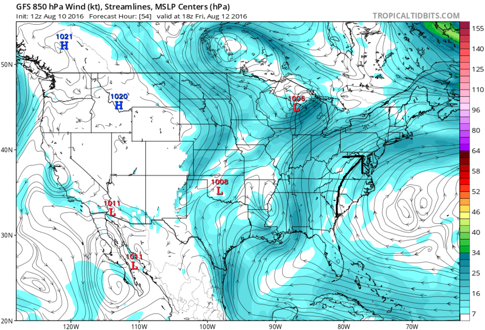 Tropical flow of air into the Mid-Atlantic region as depicted by this 12Z GFS model forecast for Friday afternoon; map courtesy tropicaltidbits.com; NOAA