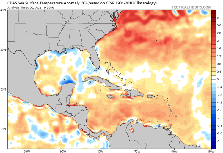 General warmer-than-normal sea surface temperatures (orange, red) in the Atlantic Ocean and Caribbean Sea and especially, near the US east coast; map courtesy tropicaltidbits.com, NOAA