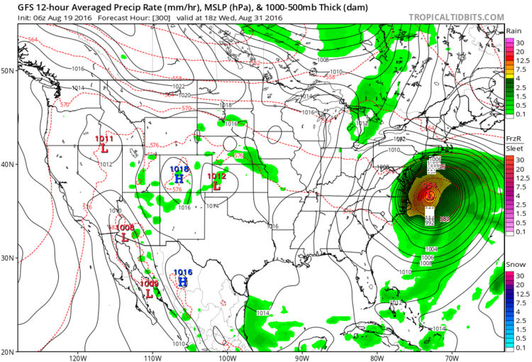 A forecast map from the GFS for the end of the month; map courtesy tropicaltidbits.com, NOAA