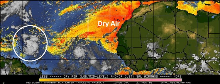 Dry (Saharan Desert) air (orange) off west coast of Africa; map courtesy University of Wisconsin/CIMSS