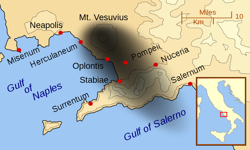 Pompeii and other cities affected by the eruption of Mount Vesuvius. The black cloud represents the general distribution of ash and cinder. Modern coast lines are shown.