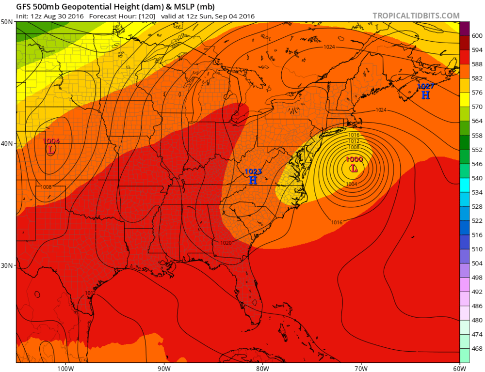 12Z GFS forecast map for Sunday morning; courtesy tropicaltidbits.com, NOAA
