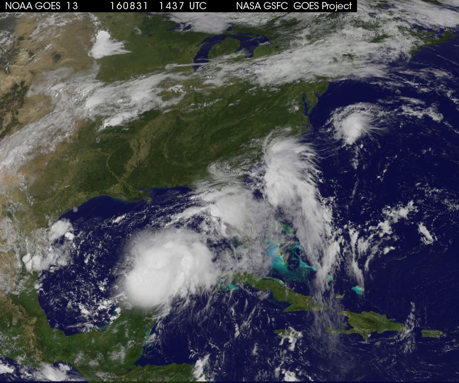 Impressive-looking tropical system (TD 9) lurking over the Gulf of Mexico; image courtesy NOAA/NASA