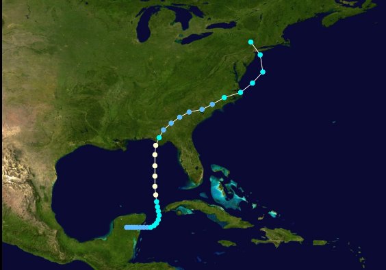 "Track of Hurricane Agnes in June 1972.  This system came out of the Gulf of Mexico and then pushed off the Mid-Atlantic coastline only to ""back-in"" before stalling out over northern Pennsylvania"