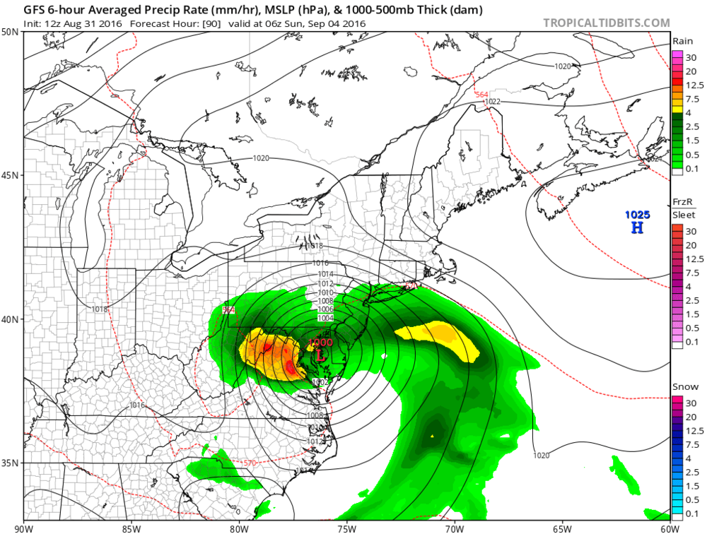 12Z GFS forecast map for 2AM Sunday morning; courtesy tropicaltidbits.com