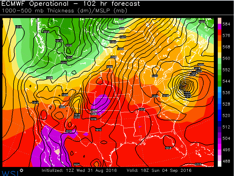 12Z Euro forecast map for Sunday afternoon; courtesy WSI