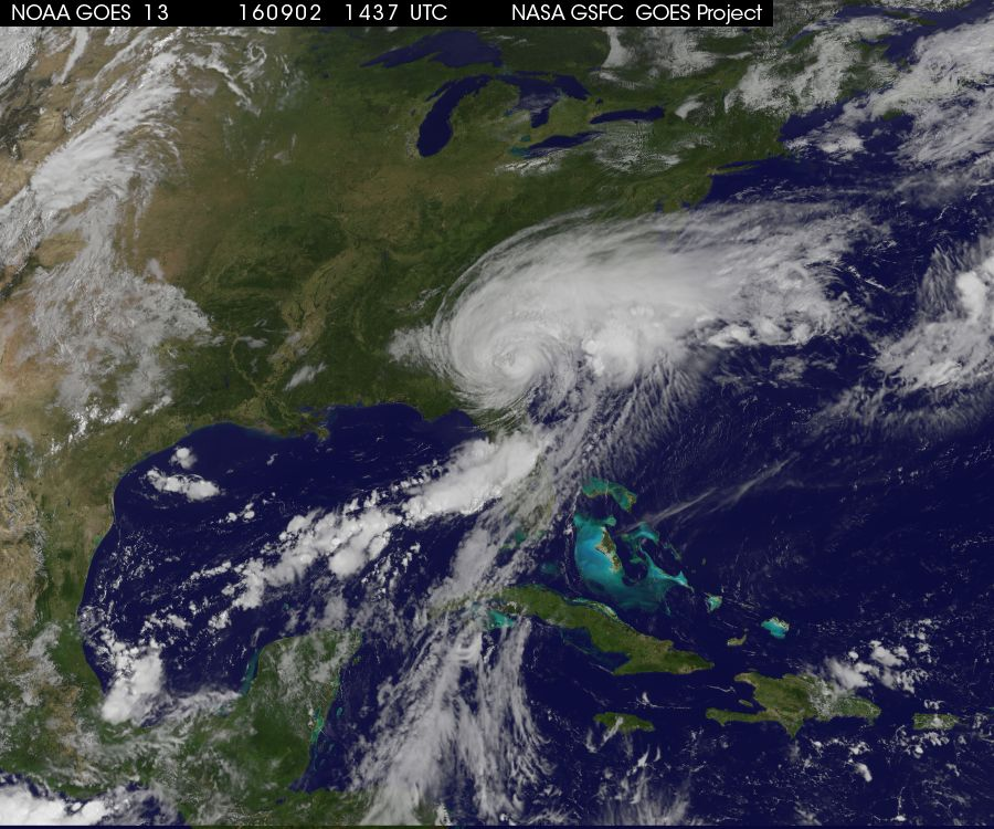 Latest satellite view of Tropical Storm Hermine; courtesy NOAA, NASA