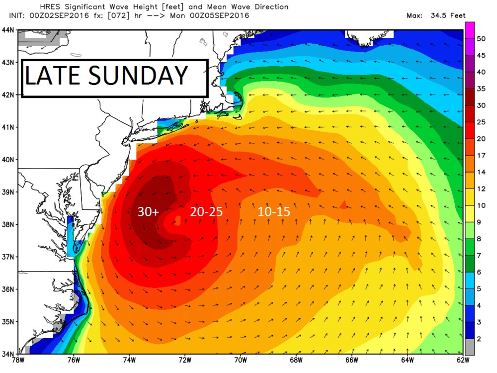 Prediction of wave heights by late Sunday; courtesy Weather Bell Analytics (Dr. Ryan Maue)