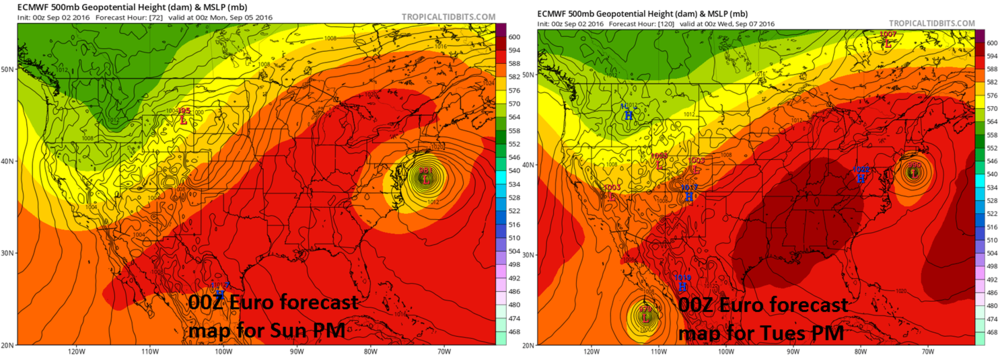 00Z Euro forecast maps for Sunday PM (left) and Tuesday PM (right); courtesy tropicaltidbits.com