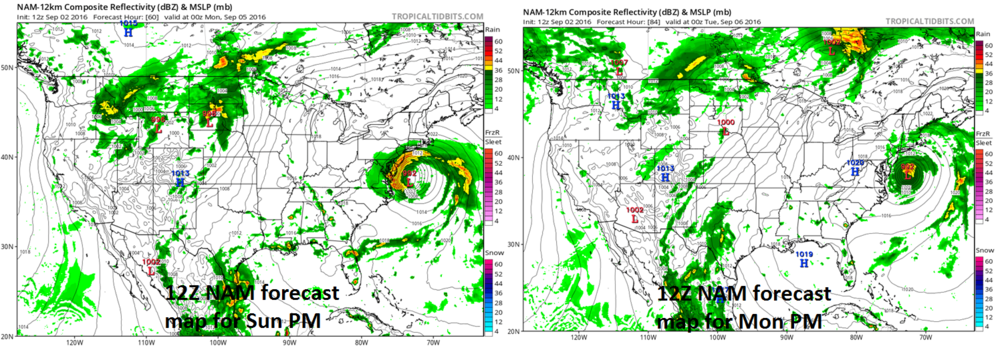 12Z NAM forecasts maps for Sunday PM (left) and Monday PM (right); courtesy tropicaltidbits.com