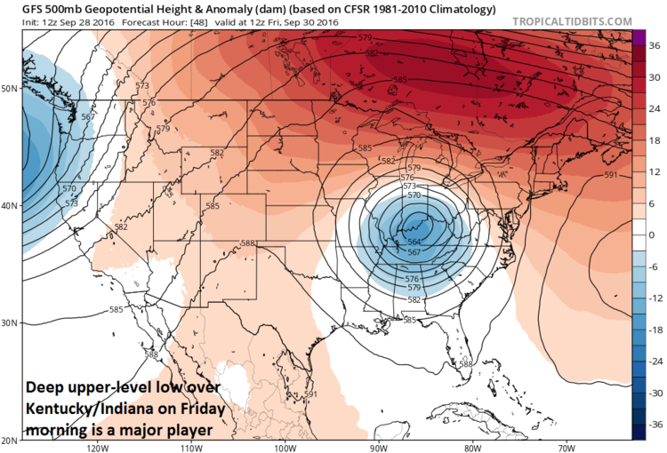 12Z GFS forecast map of 500 mb height anomalies on Friday morning with vigorous upper-level low; map courtesy tropicaltidbits, NOAA