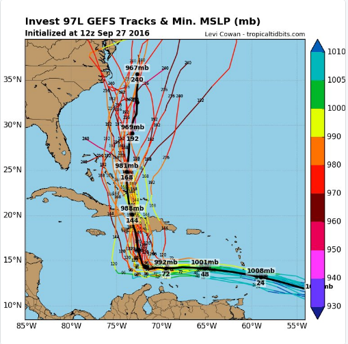 The range of forecast tracks for TS
