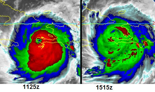Colorized infrared satellite images a few hours apart from earlier today featuring brightness temperatures of cloud tops. The change in temperatures of the cloud tops suggests there was a slight weakening after Matthew's encounter with southwestern Haiti