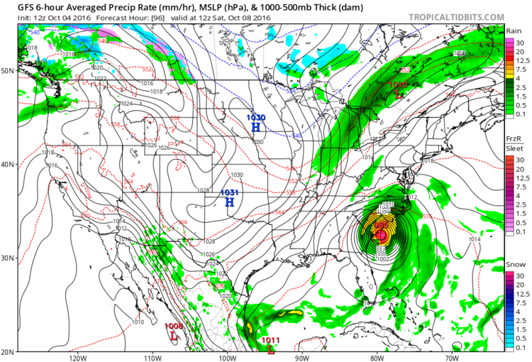 12Z GFS forecast map for Saturday morning; map courtesy tropicaltidbits.com, NOAA