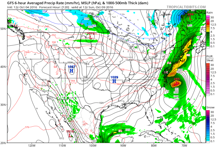 12Z GFS forecast map for Sunday morning; map courtesy tropicaltidbits.com, NOAA