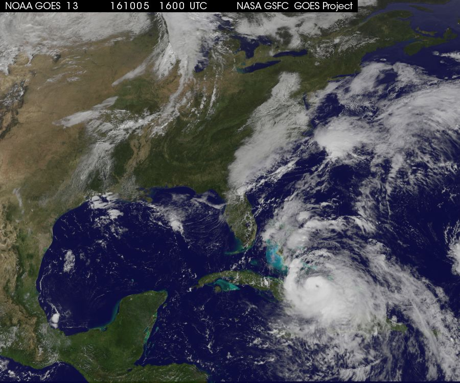 Latest satellite image of major Hurricane Matthew; courtesy NASA, NOAA/GOES