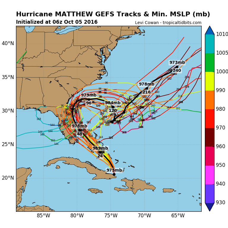 Last night's ensemble run of the GFS computer forecast model with multiple members indicating a loop could bring it back to the Bahamas or Florida for a second time sometime next week; map courtesy tropicaltidbits.com, NOAA