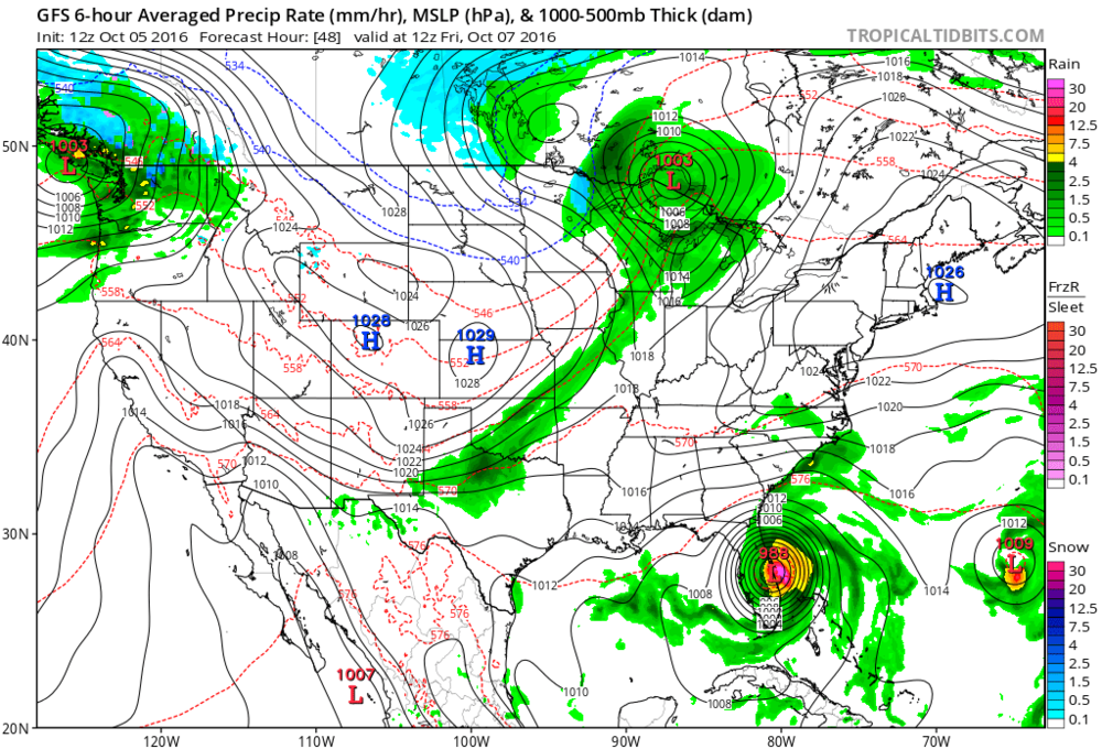 12Z GFS forecast map for tomorrow morning; map courtesy tropicaltidbits.com, NOAA