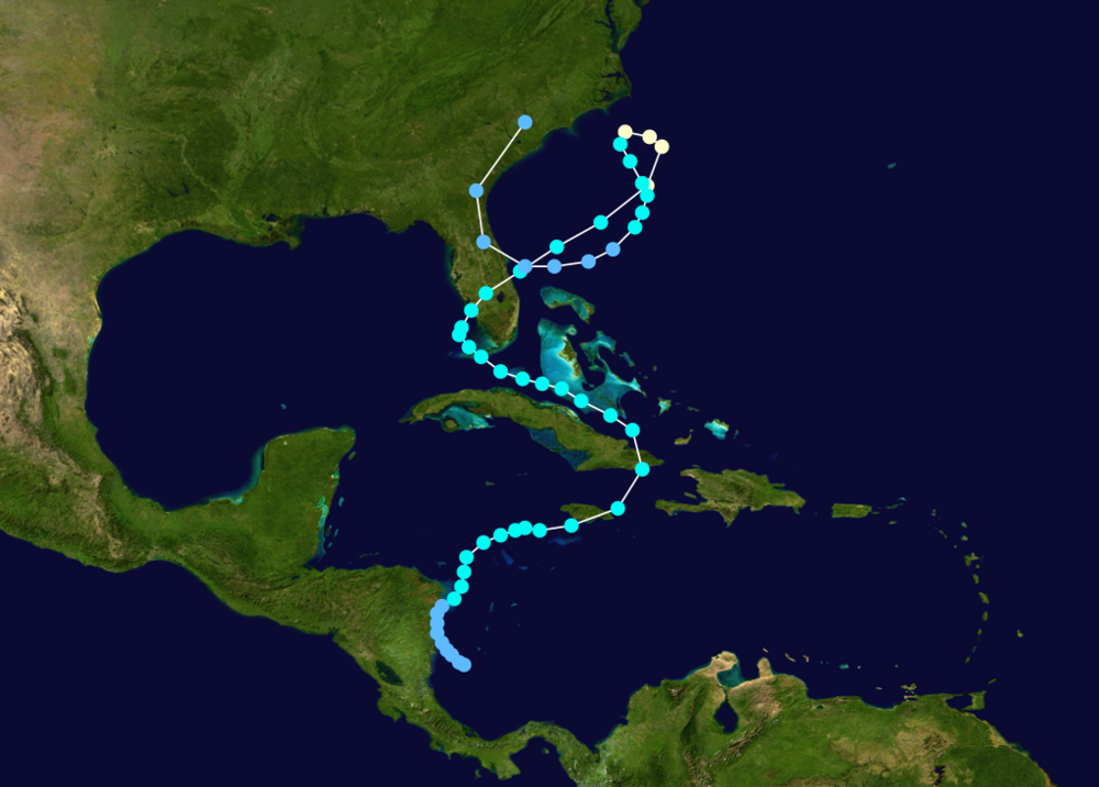 The strange track of Hurricane Gordon during November 1994; map courtesy wikipedia