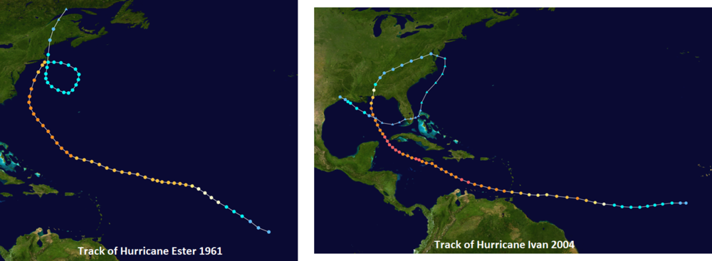 Two other tropical systems with looping tracks: Ester, 1961 (left), Ivan, 2004 (right); maps courtesy wikipedia