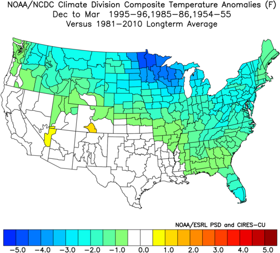 Average December-to-February temperature anomaly pattern for the three selected analog years; courtesy NOAA