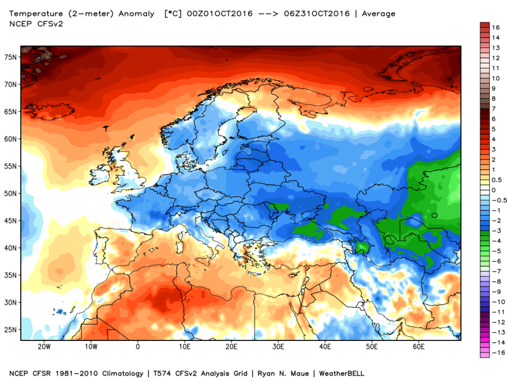 Widespread colder-than-normal conditions during the month of October across Eurasia; map courtesy Weather Bell Analytics at weatherbell.com