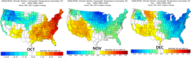 Month-to-month breakdown of temperature anomalies from  October  through  December  for the three selected analog years; data courtesy NOAA