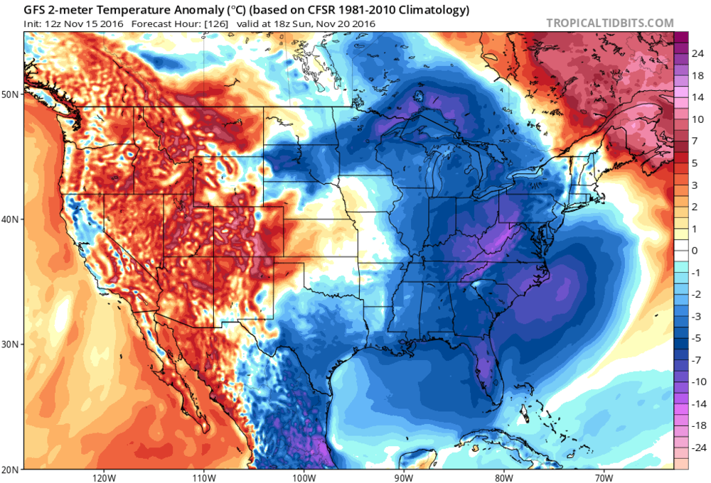 12Z GFS temperature anomaly forecast map for Sunday afternoon; map courtesy NOAA, tropicaltidbits.com