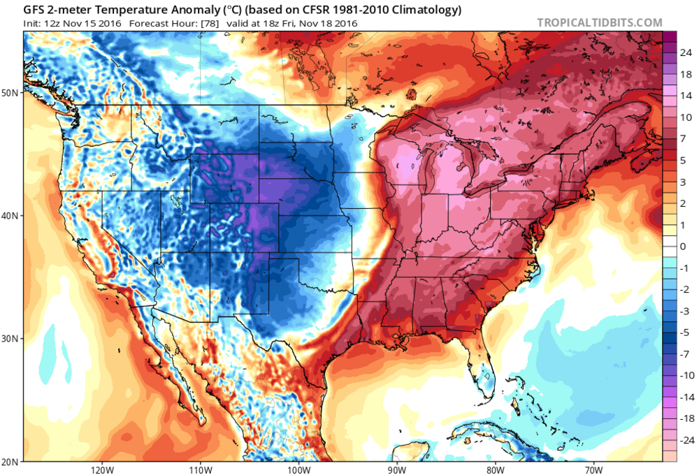 12Z GFS temperature anomaly forecast map for Friday afternoon; map courtesy NOAA, tropicaltidbits.com