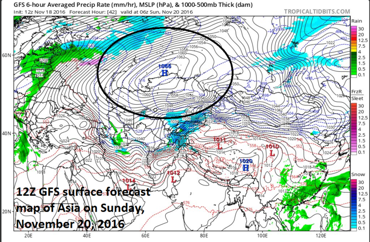12Z GFS forecast map of Asia for Sunday, November 20 with tremendous high pressure in circled region; map courtesy tropicaltidbits.com, NOAA/EMC
