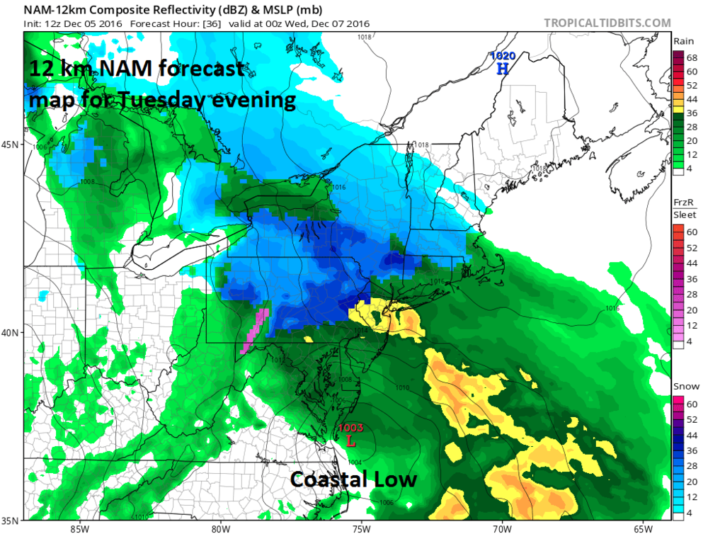 Forecast map for early Tuesday evening from the high-resolution (12-km) version of the NAM model (blue=snow, green/yellow=rain); map courtesy tropicaltidbits.com, NOAA