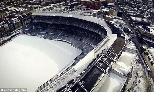 Current look at snow-covered Wrigley Field in Chicago, IL; image courtesy Cubs, Instagram