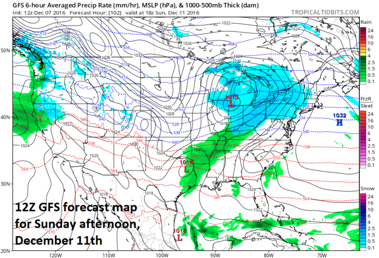 12Z GFS forecast map for Sunday afternoon, December 11th; map courtesy tropicaltidbits.com, NOAA