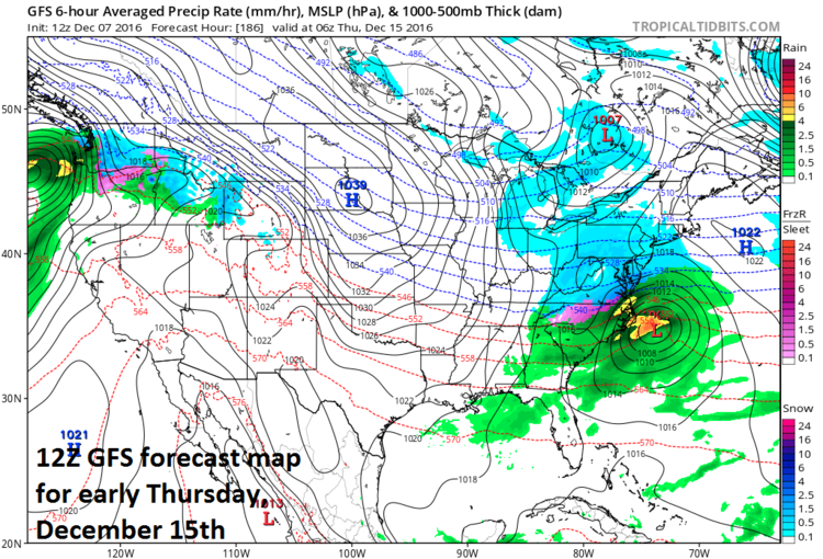 12Z GFS forecast map for early Thursday, December 15th; map courtesy tropicaltidbits.com, NOAA