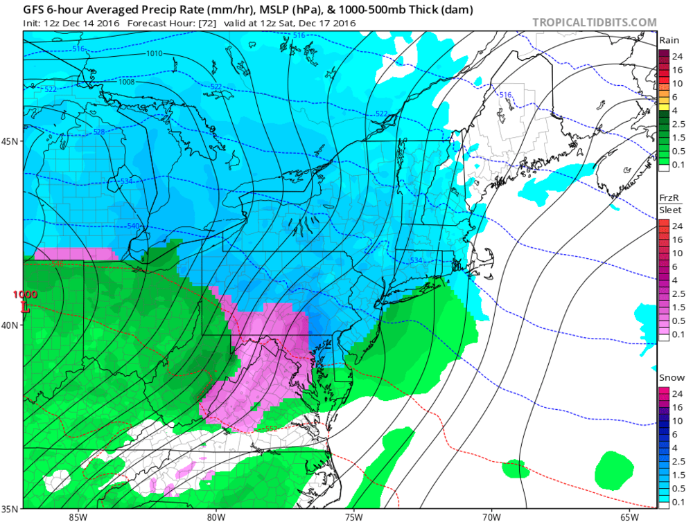 12Z GFS surface forecast map for early Saturday morning (snow in blue, ice in pink, rain in green); map courtesy tropicaltidbits.com, NOAA