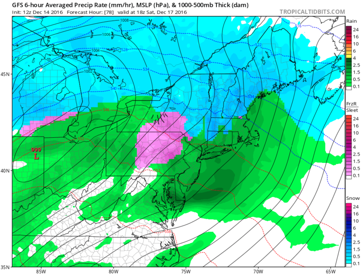 12Z GFS surface forecast map for early Saturday afternoon (snow in blue, ice in pink, rain in green); map courtesy tropicaltidbits.com, NOAA