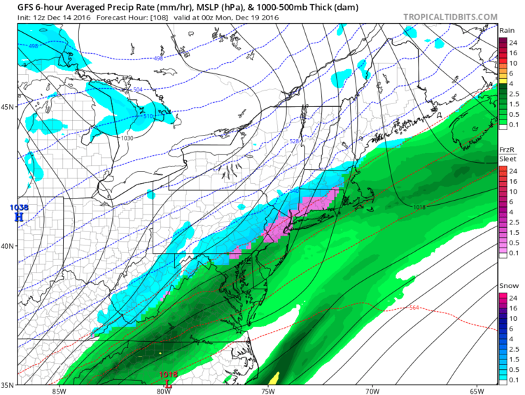 12Z GFS surface forecast map for early Sunday evening (snow in blue, ice in pink, rain in green); map courtesy tropicaltidbits.com, NOAA